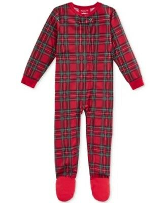 Family PJ's Unisex Baby Boys and Girls Holiday Plaid Footed Pajamas, Red