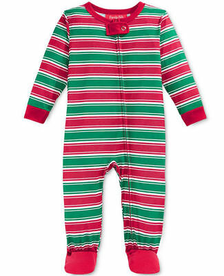 8713186003 FAMILY PAJAMAS UNISEX Baby Boys and Girls Holiday Stripe Footed PJ s ...