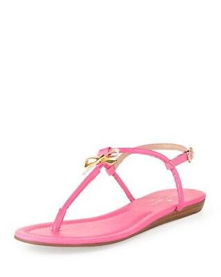 d76b6559519 KATE SPADE TRACIE Pink Patent Leather Gold Bow Thongs Sandals Shoes ...