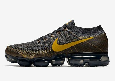 ea186c23 NEW Nike Air VaporMax Flyknit Black Mineral Gold Grey 849558-021 Men's Size  7-