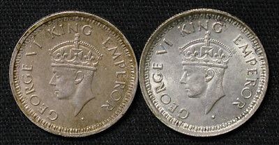 Lot of 2 India-British 1/4 Rupee silver coins 1944 and 1945 Bombay