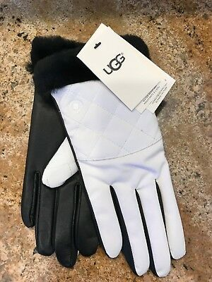Nwt Ugg Australia White Black Quilted Smart Water Resistant Gloves W/ Fur L/Xl