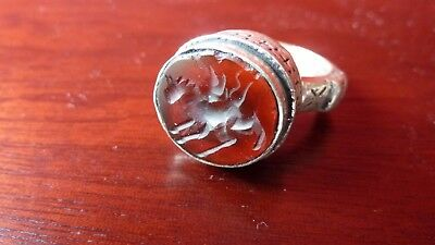 Large Solid Silver Byzantine Seal Ring With Red Carnelian Intaglio. Circa 1800's