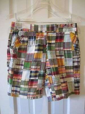 "J.Crew Womens Madras Plaid Shorts Size 2 City Fit NWOT 10"" INSEAM FLAT FRONT"