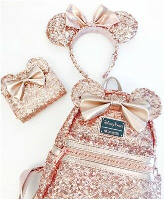 SOLD OUT!!!!  Disney Parks Rose Gold Loungefly Backpack, Headband And Wallet Set