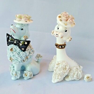 vtg lefton spaghetti trim poodle figurines blue white bowtie rhinestones hats
