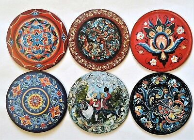 "Set of 6 Coasters:  Norwegian Rosemaling by Lise Lorentzen  3.75"" Diameter"
