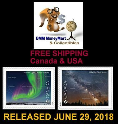 2018 Canada Post ~ 2 ASTRONOMY Stamps ~ Both From Booklet MNH ~ FREE SHIPPING