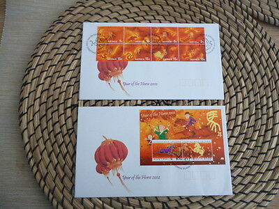Christmas Island fdc 2002  x 2 year of the Horse  Set and Mini Sheet