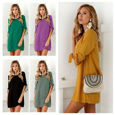 Womens Sexy Plus Size Long T-shirt Pure Color Casual Party Mini Dress Blouse Top