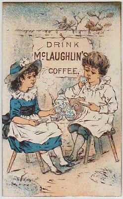 DRINK McLAUGHLIN'S COFFEE (1885) RARE BUSINESS SIZE Victorian Trade Card CHICAGO
