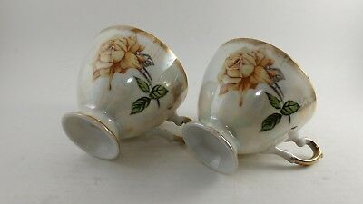 2 Vintage Hand Painted Gold Plated Japanese Teacup Tea Cup Flower Design