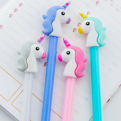 Unicorn Gel Pen Black Ink Pen Kawaii Stationery Kids School Office Supplies Gift