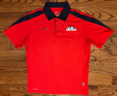 3b0ebf2f9 Size Medium Men's Nike DRI-FIT Ole Miss Rebels Short Sleeve Red Polo Shirt