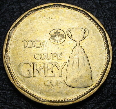 2012 - $1 - Grey Cup - BU from a new roll - Major Struck Through Error - Rare !!