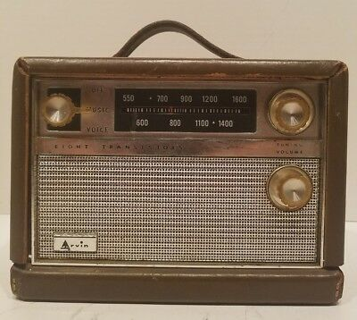 TESTED WORKS Vintage Arvin 8 transistor Lunch Box Radio mod # 61R58 from 1961.