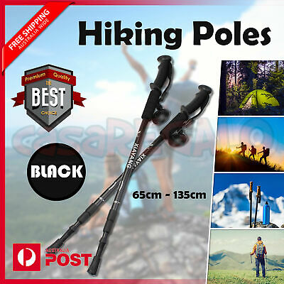 Hiking Trekking Poles Walking Stick Anti Shock Adjustable Camping Cane Black