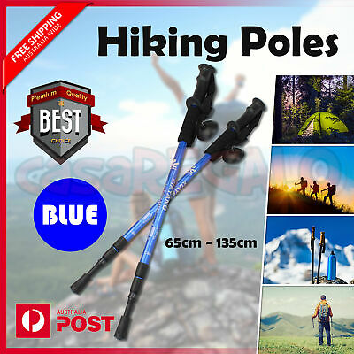 Hiking Trekking Poles Walking Stick Anti Shock Adjustable Camping Cane Blue
