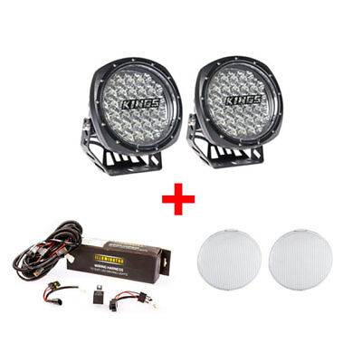 7inch LED Driving Lights + Wiring Harness + Flood Covers Offroad 4WD Spotlight