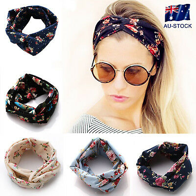 Women Floral Headband Sport Yoga Elastic Twisted Knotted Hair Band Turban Gifts