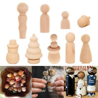 10Pcs Christmas DIY Painting Craft Wooden Peg Doll Bodies Dolls Home Decor Gifts