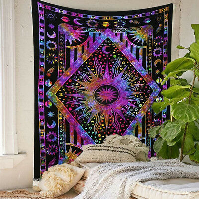 Psychedelic Sun Moon Planet Wall Hanging Tapestry Bedroom Dorm Home Decor Beamy