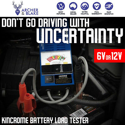 6V /12V Car Battery Load Tester 100A Heavy Duty Colour-Coded Volt Meter Kincrome