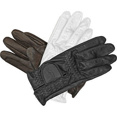 Mark Todd Leather Riding/ Show Gloves Black/White/Dark Brown XS - XL 4-12 Years
