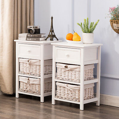 Pair of Bedside Tables Shabby Chic White Drawer Cabinets with 2 Wicker Basket