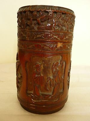 Antique 18th Century Chinese Carved Bamboo Lidded Brushpot Signed.