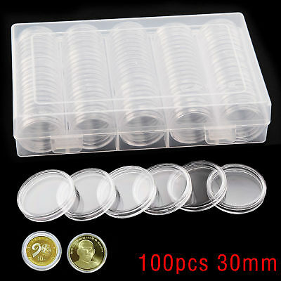 100PCS Clear Plastic Round Storage Box 30mm Coin  Cases Capsules Holder Applied