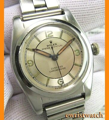 e62ff1b882a Vintage 1940 s Rolex Oyster Perpetual Bubbleback Sector Dial w Riveted  Bracelet