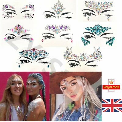 Gypsy Festival Face Body Gems Adhesive Glitter Jewels Tattoo Sticker Love Island