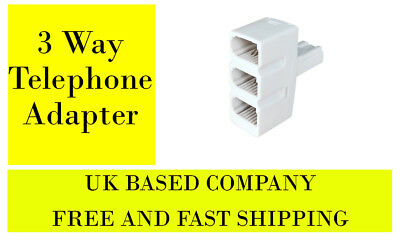 BT Telephone Phone Socket TRIPLE 3 way Adapter Splitter ***FREE SHIPPING***