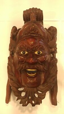 Carved Asian Wood Mask Man Devil Dogs Exquisite Detailing Eyes Teeth