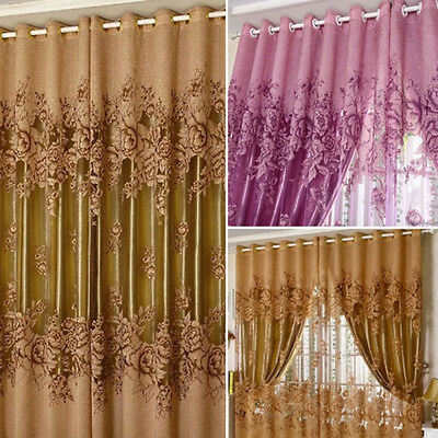 Peony Pattern Voile Curtains Living Room Window Curtain Tulle Sheer Curtains HF