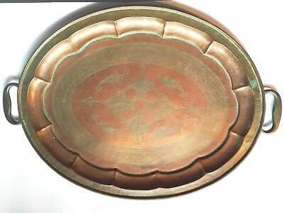 Lovely Oval Copper Tray antique Arts hand Crafts Hammered wonderful carving item