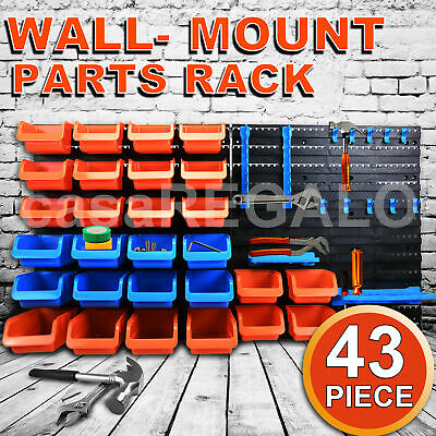 43PC Wall Mounted Storage Bin Rack Organiser box Tool Parts Garage Shelving New