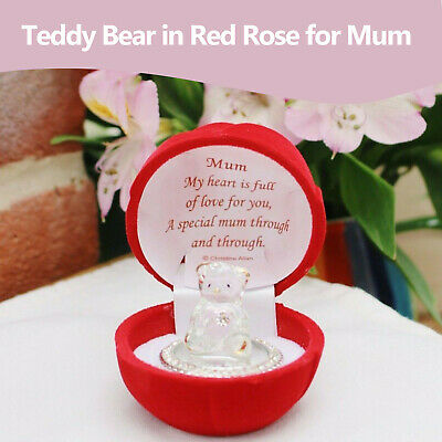 Crystal Teddy Bear Mum Gift With Message Mothers Day Birthday Gift Box Present