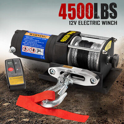 4500LBS / 2041Kg 12V Wireless Electric Winch Synthetic Rope ATV 4wd Boat 12Volt