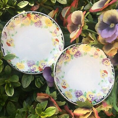 Pair Of 2 Vintage Royal Doulton Pin Butter Dishes Australian Wild Pansy Pansies