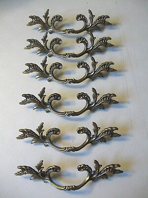 (6) Vintage Solid Brass French Provincial Drawer Pulls / Handles -- W/ Screws