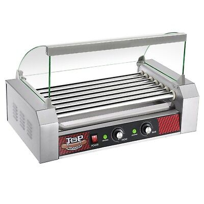 Commercial Electric 30 Hot Dog 11 Roller Grill Cooker Machine 1400-Watt w Cover