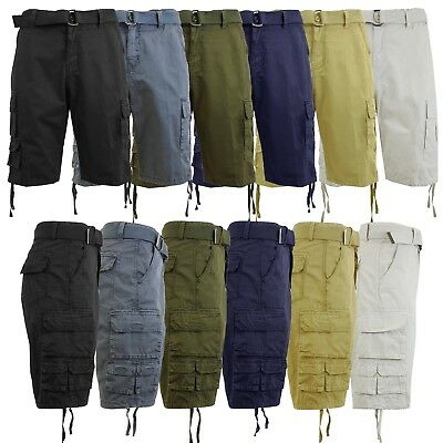 Mens Cargo Shorts With Belt Vintage Lounge 100% Cotton Multi-Pockets Hiking NEW