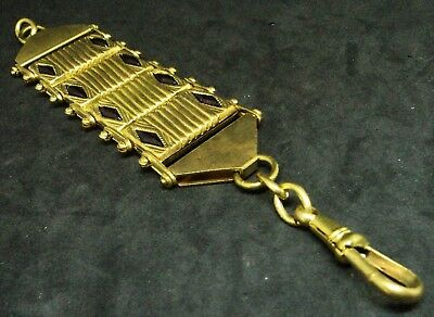Antique JAKOB BENGEL WATCH FOB Chatelaine GILT METAL Purple Glass GERMAN Chain