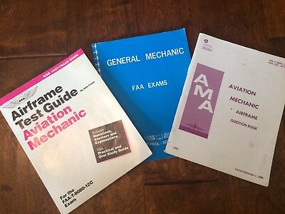 Vintage 1980's Flight Mechanic Test Guides FAA Mechanic study questions Airframe