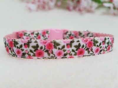Cutie Pie Pink Rose Cat,Kitten Collar With Safety Buckle And Bell.2 Sizes