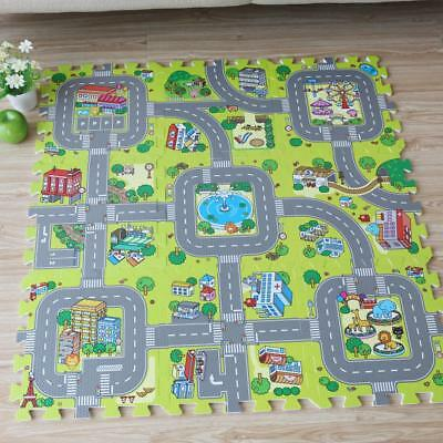 Puzzle Play Floor Mat,City Road Education And Interlocking Tiles And Traffic