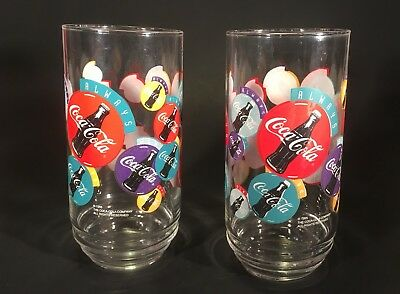 VTG HTF SET PAIR 2 80s 90s COCA-COLA 16 OZ GLASS CUP TUMBLER Colorful INDIANA