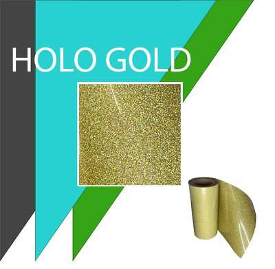 "Glitter IRON-ON Heat Transfer Vinyl 10"" x 12"" 1,3,5 and 10Yd *HOLO GOLD*"